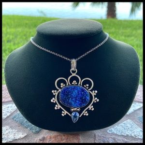 925 sterling silver blue topaz & druzy necklace